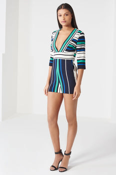 Navy, White & Jade Green Stripe Print Deep Plunge Playsuit