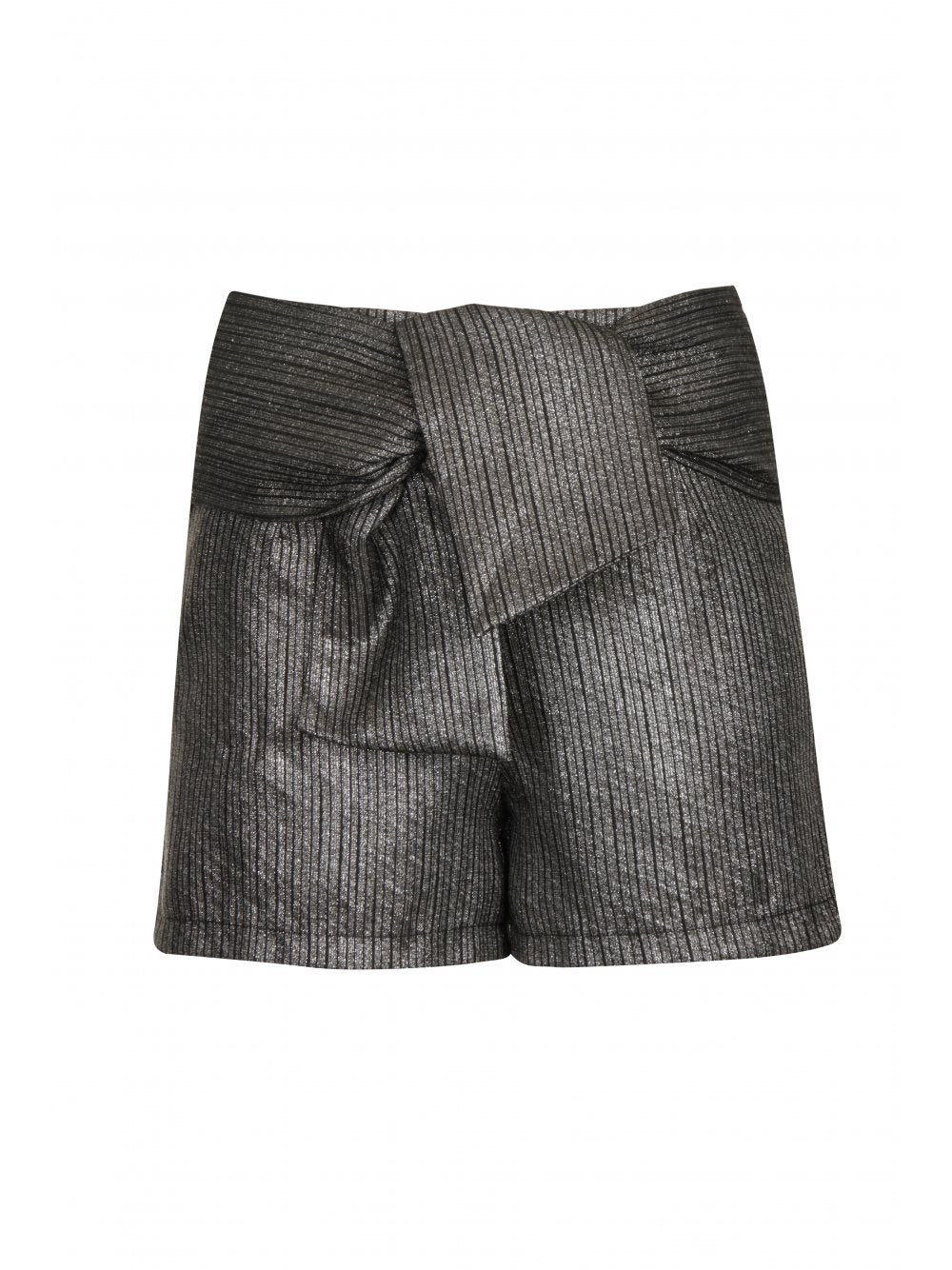 Silver Metallic & Black Stripe Print Tie Detail Shorts