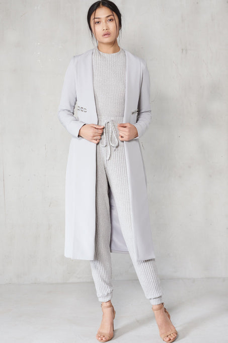 Grey Metal Lapel Trim Oversized Duster Coat