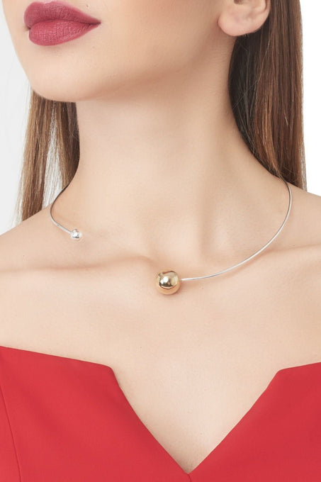 Sterling Silver Gold Plated Ball Choker
