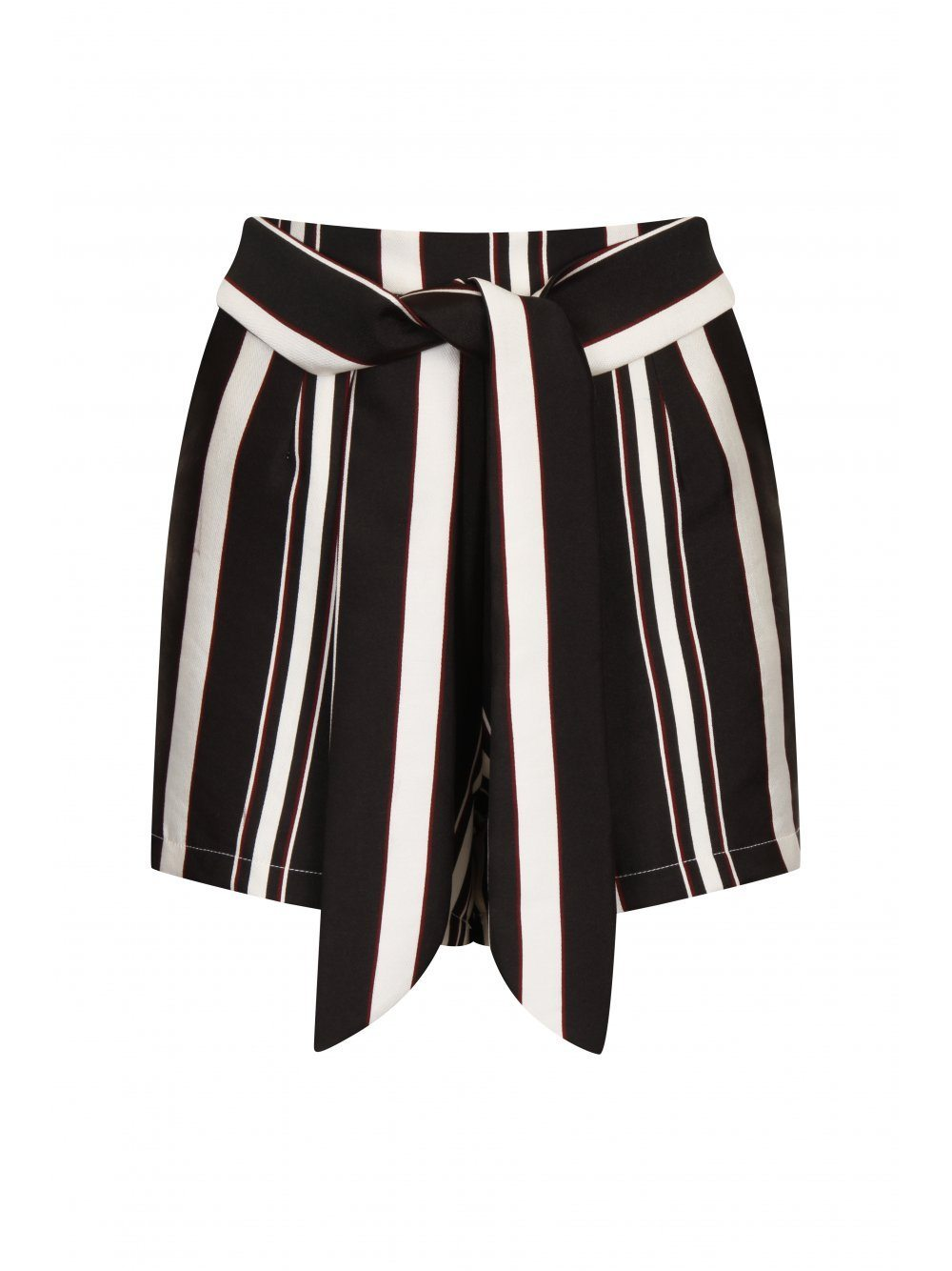 Black, Cream & Burgundy Stripe Tie Side Shorts