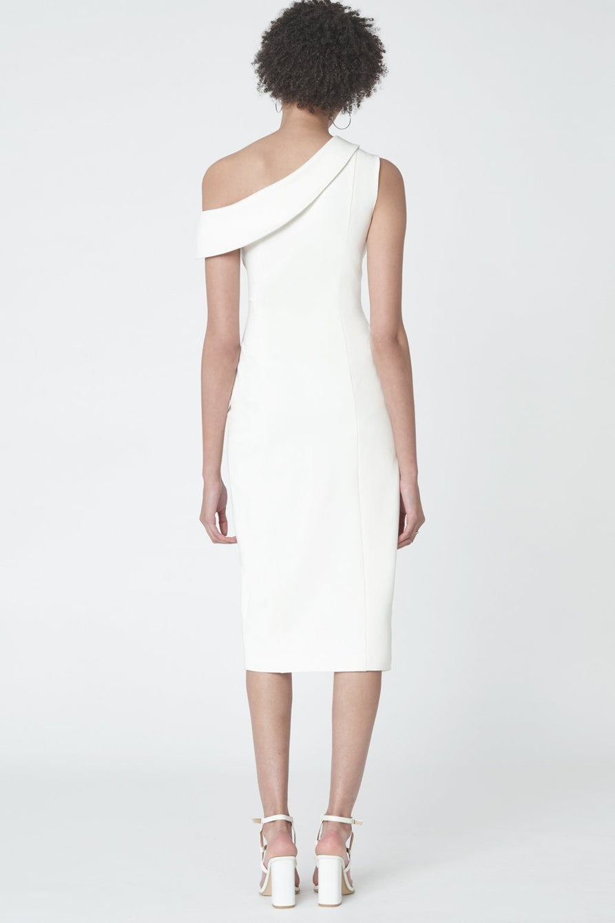Asymmetric Shoulder Wrapover Dress in Soft White