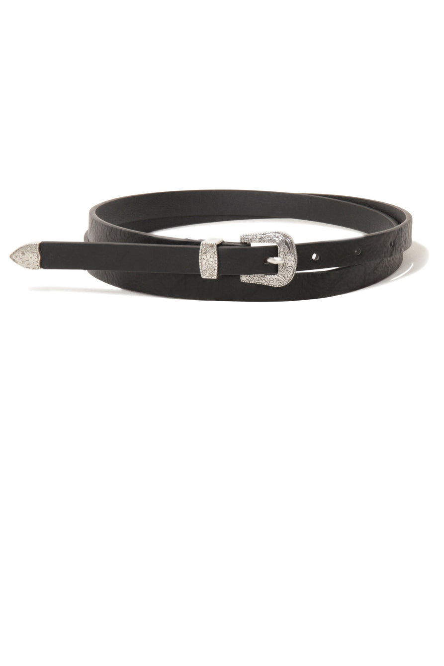 Black Silver Western Buckle Slim Belt