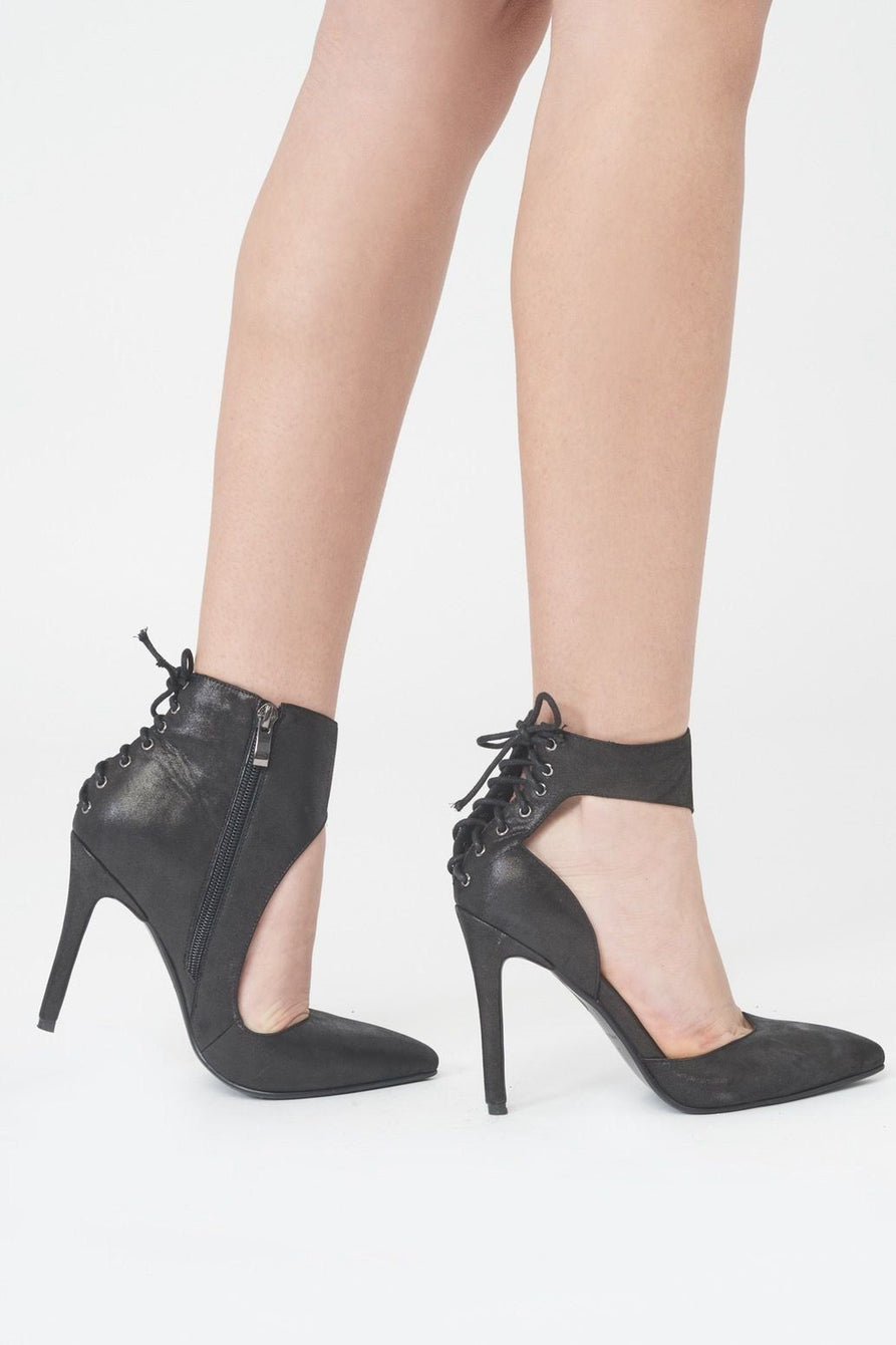 Asymmetric Lace Up Stiletto Heels in Black Leather