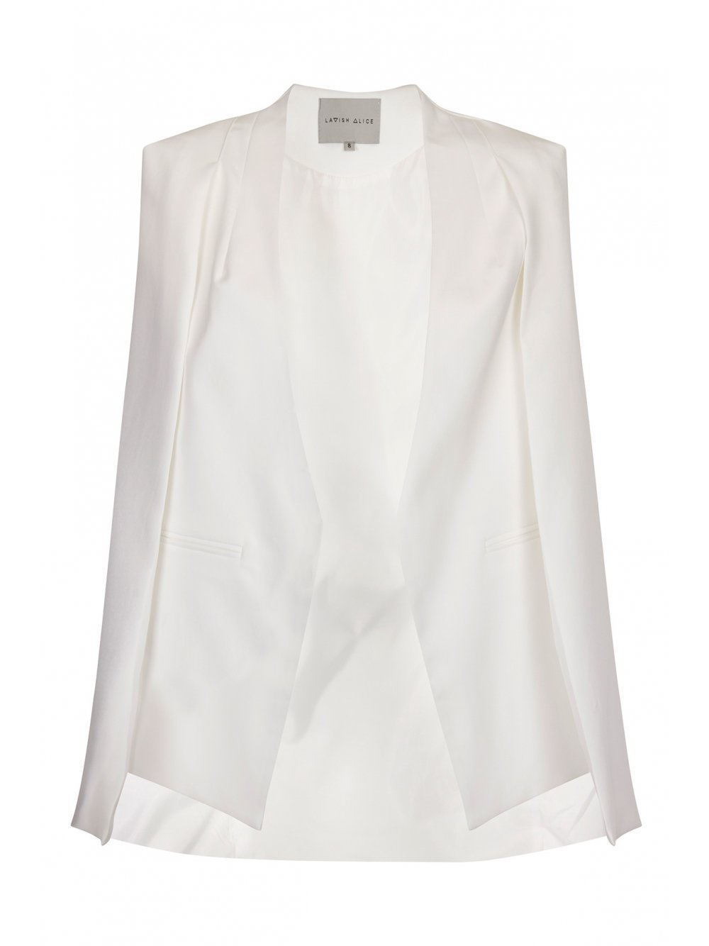 White Collarless Cape Blazer