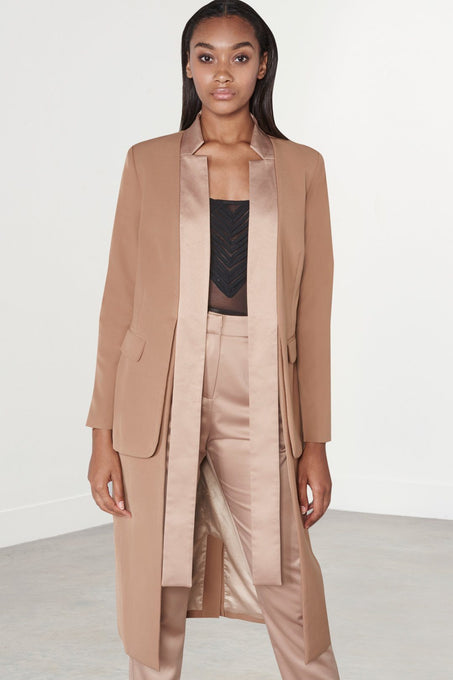 Camel Tie Front Satin Lapel Double Layer Longline Blazer