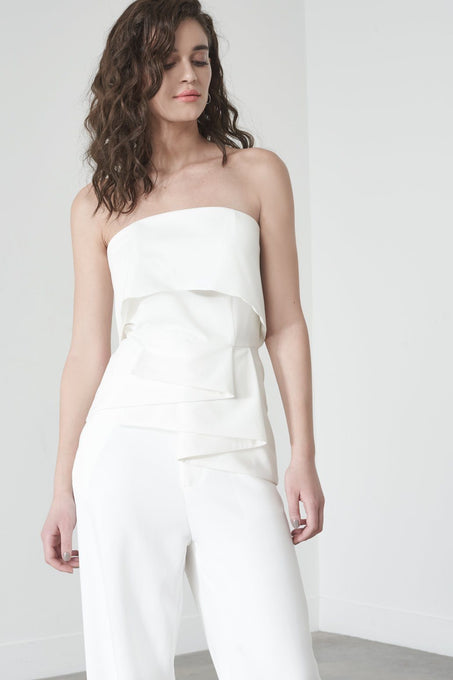 Strapless Frill Top in Soft White