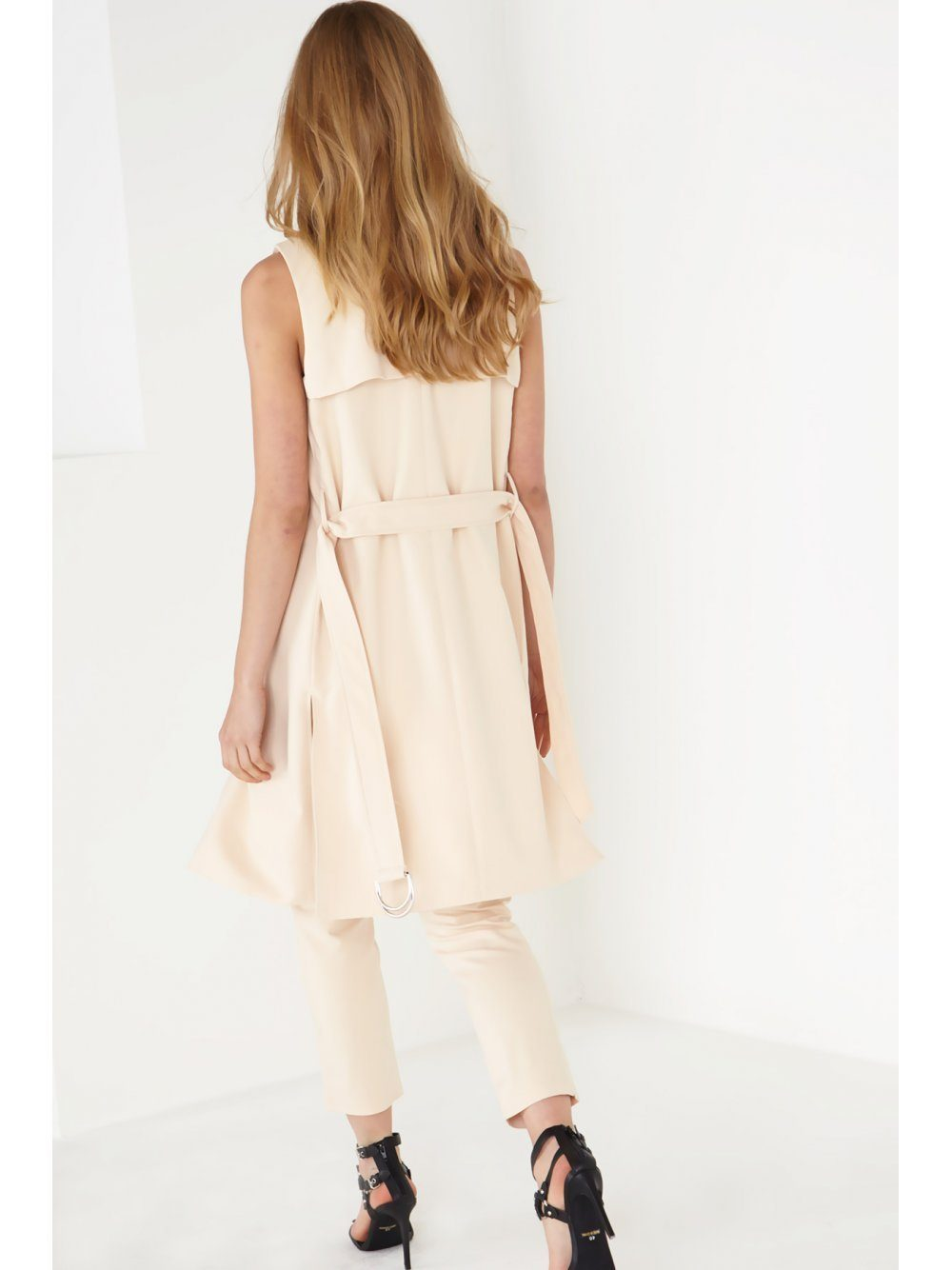 Sand Sleeveless Belted Trench Coat
