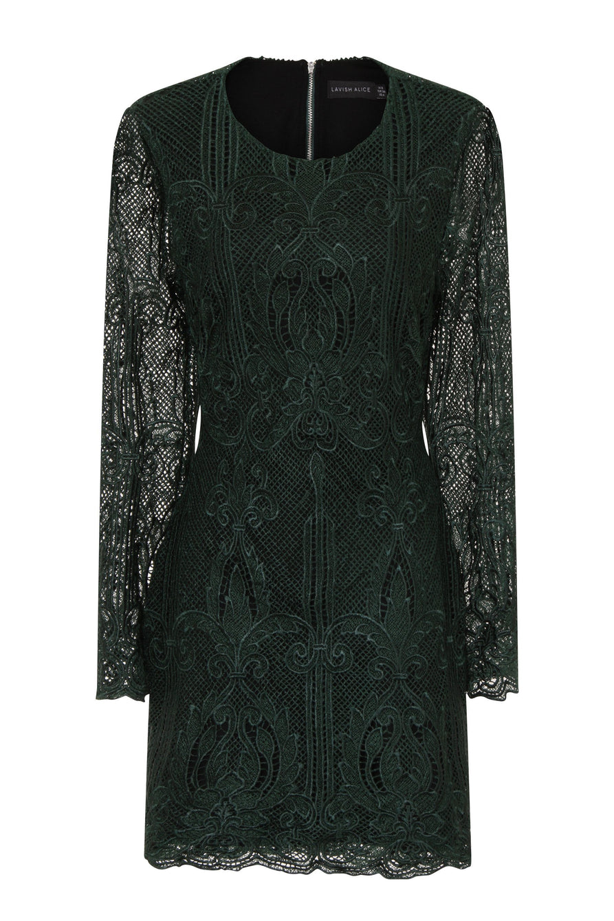 Premium Forest Green Lace Open Back Mini Dress