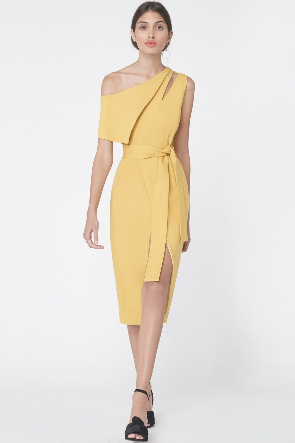 One Shoulder Tie Front Dress in Olive Yellow