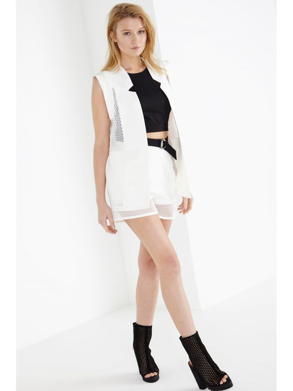 White Notch Neck Mesh Panel Sleeveless Blazer