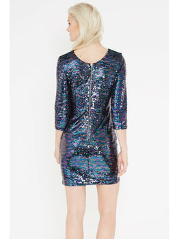 Mixed Sequin Scoop Back Long Sleeve Mini Dress