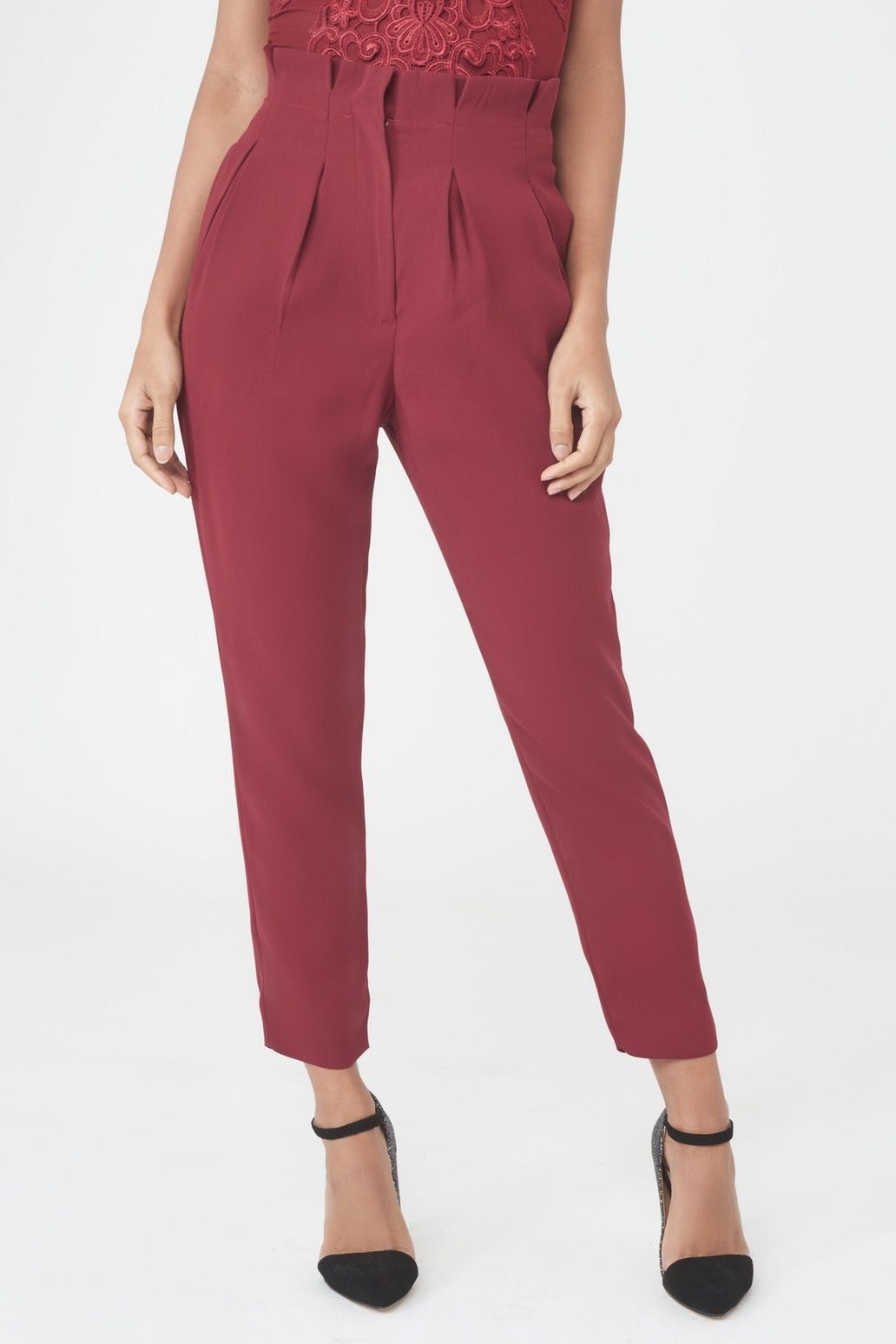 Gathered Waist Tapered Trousers