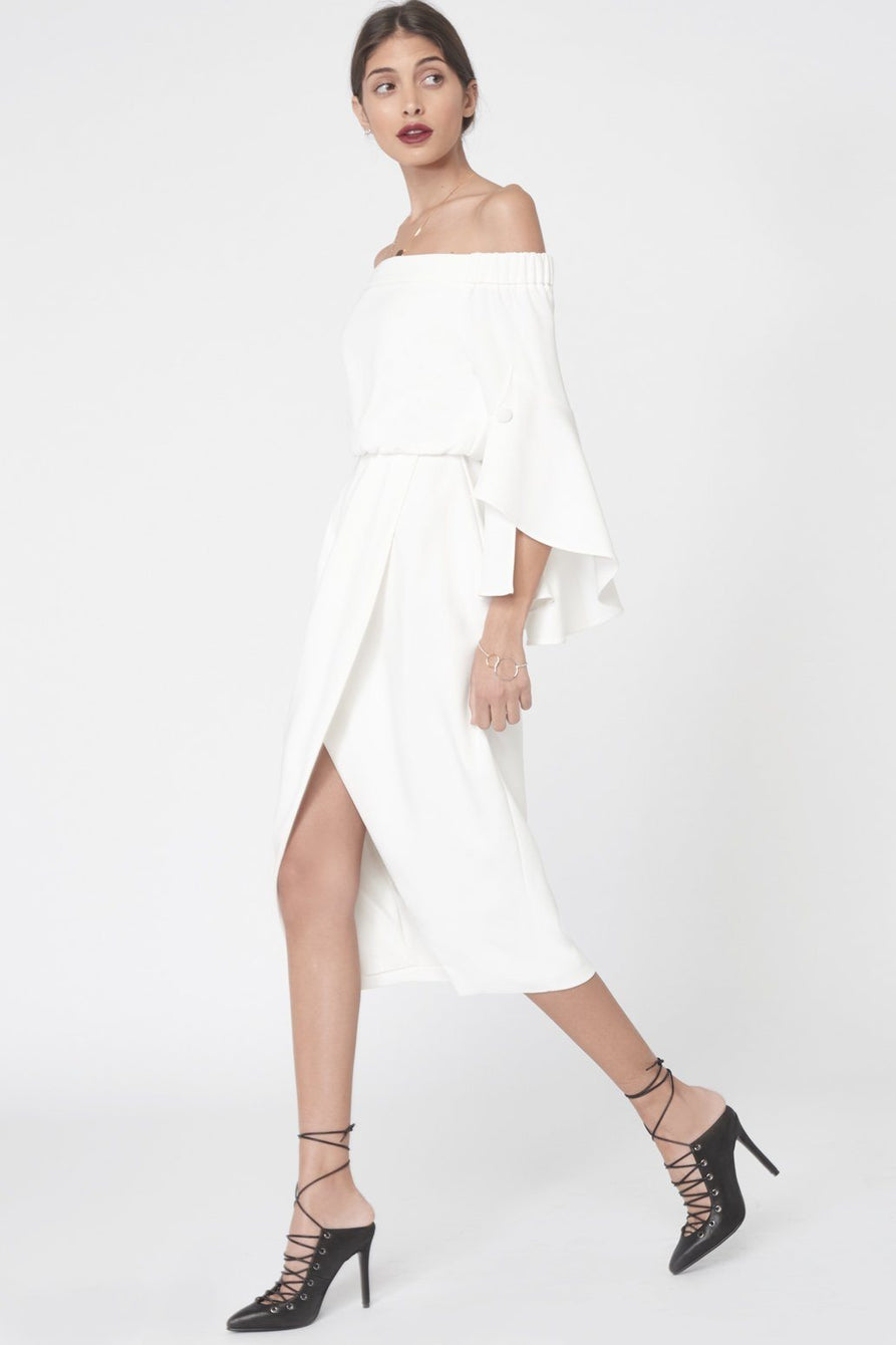 Bell Sleeve Bardot Dress in White