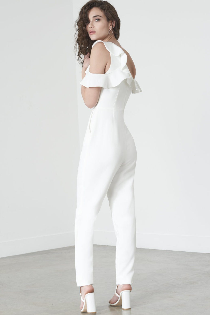 Tailored Frill Jumpsuit in Off White