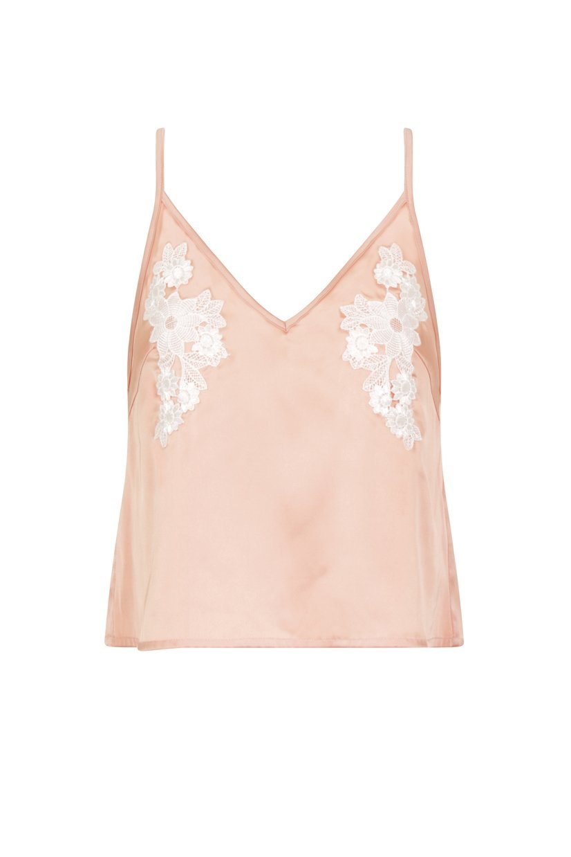 Nude Satin & White Crochet Cami Pyjama Top