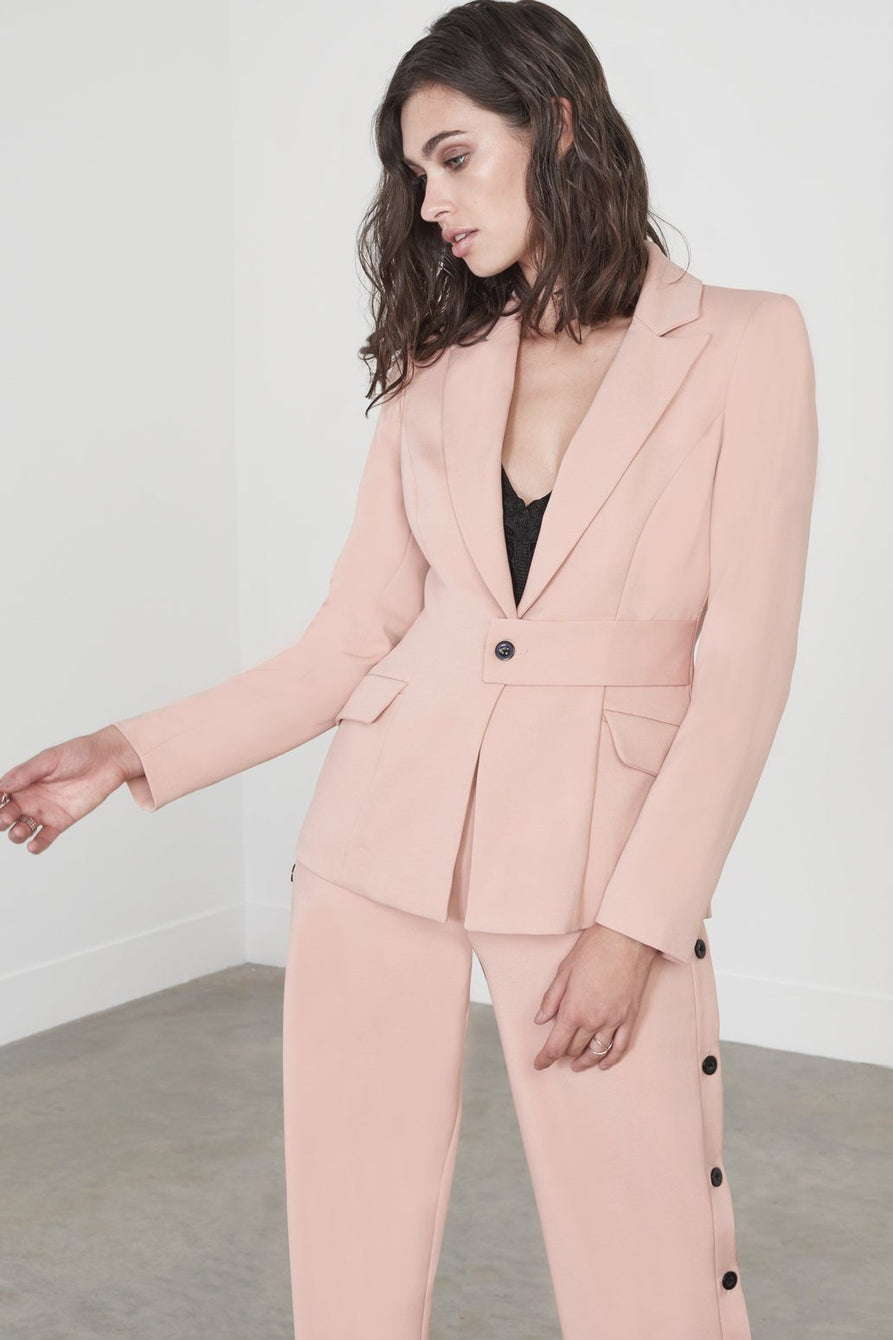 Tab Front Fitted Blazer in Deep Blush