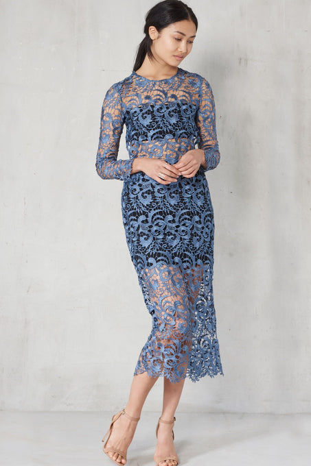 Petrol Blue Lace Open Back Midi Dress