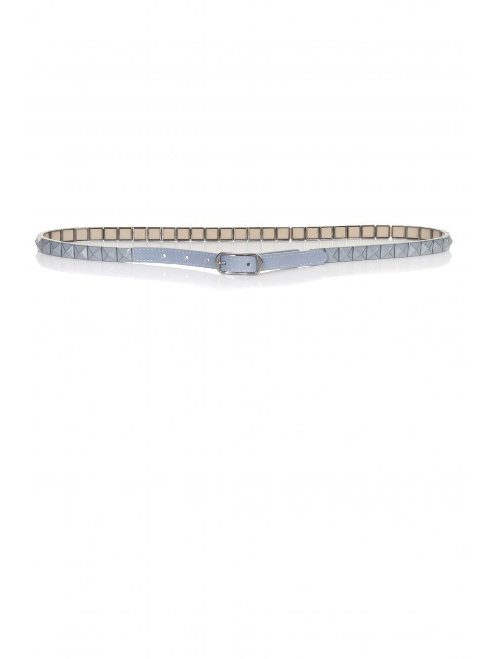 Dusty Blue Leather Studded Belt