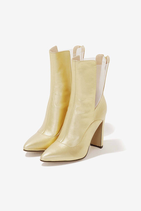 Gold Leather Perspex Insert High Ankle Sock Boots