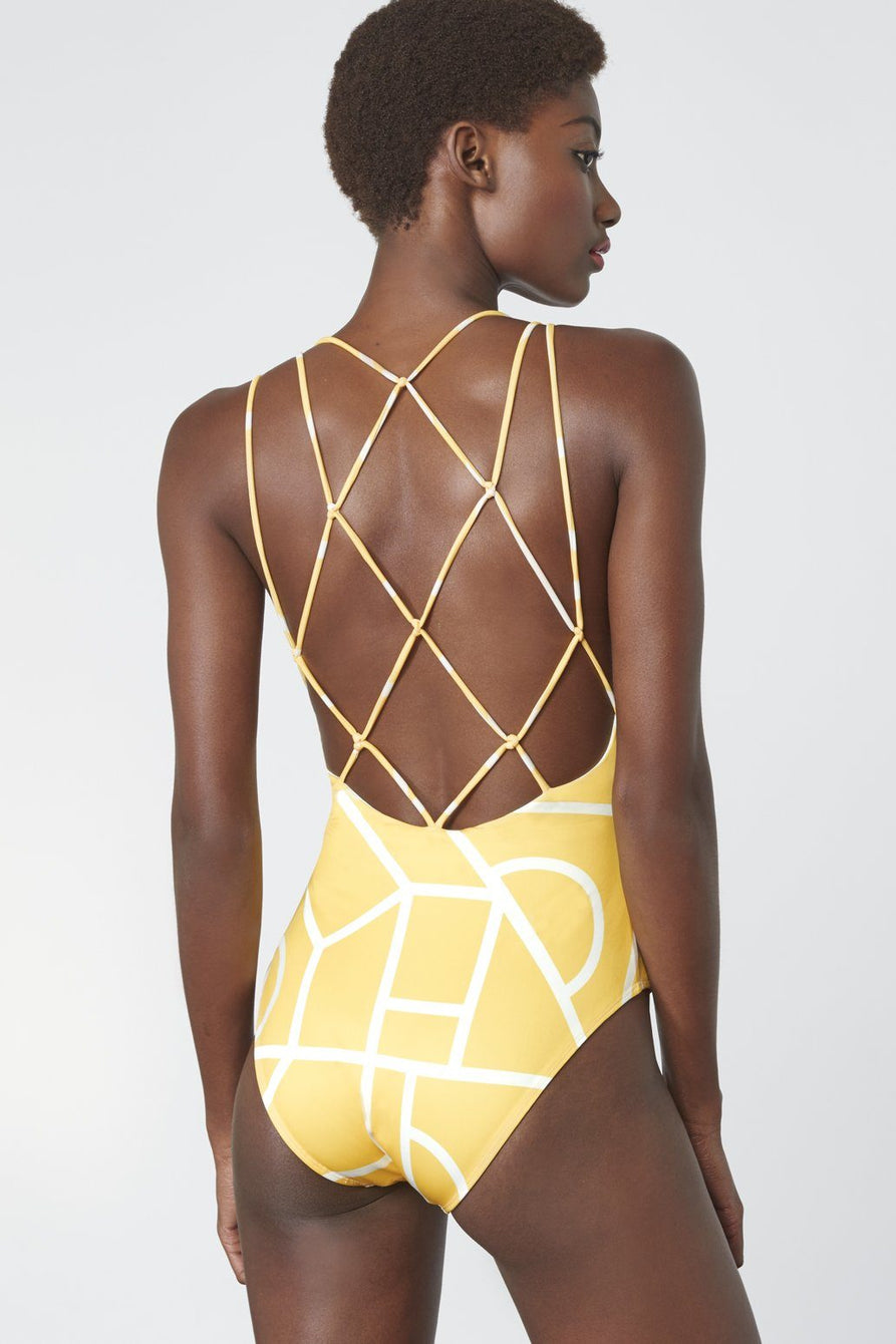 MacramÌÎå© Detail Swimsuit in Yellow Geo Print