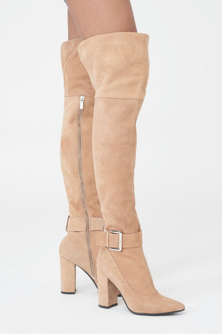 Over Knee Leather Boots with Buckle