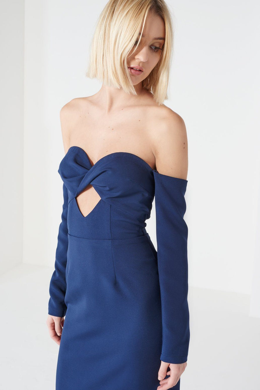 Navy Bandeau Cut-Out Midi Dress
