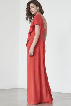 Asymmetric Caped Jumpsuit in Red