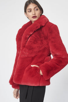 Cropped Faux Fur Jacket in Red