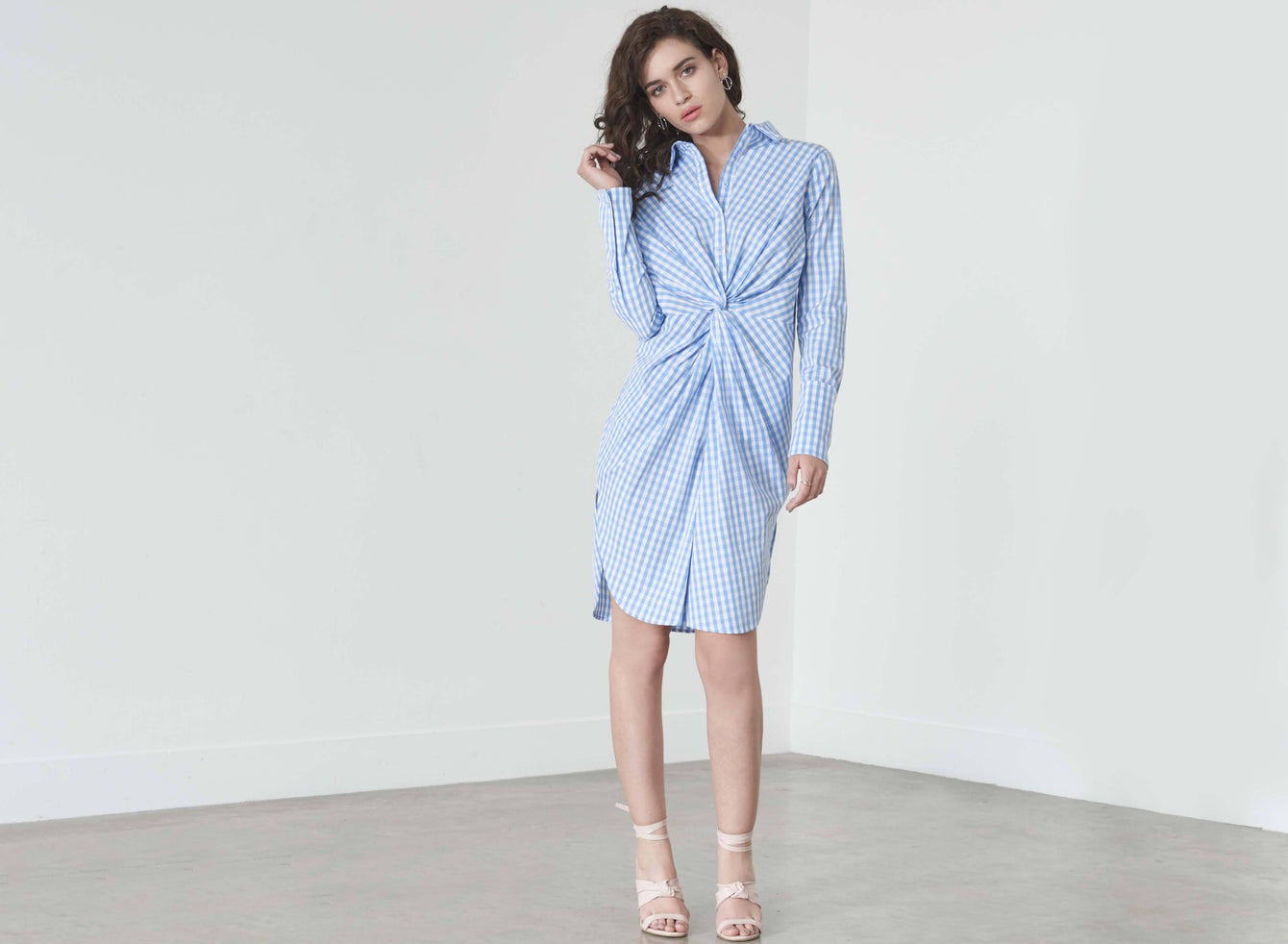 Twist-Front Shirt Dress in Blue & White Gingham