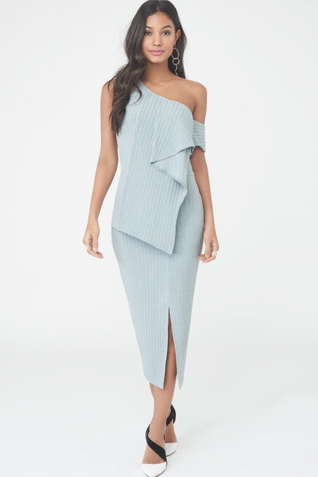 Draped Asymmetric Rib Knit Dress