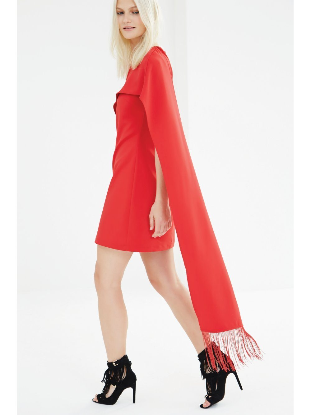 Red Sleeve Overlay Fringe Detail Shift Dress