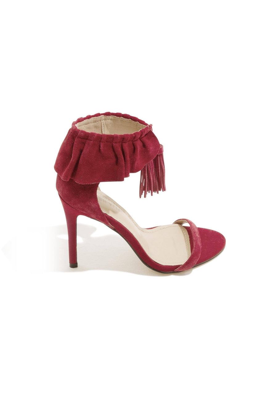 Red Suede Ruffle Stiletto