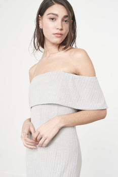 Bandeau Jumpsuit in Grey Marl Knit
