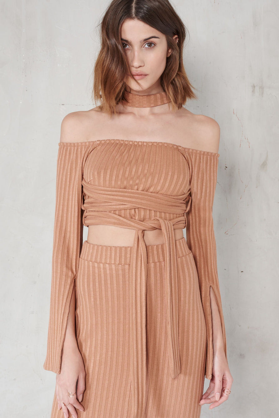 Camel Rib Knit High Neck Wrap Around Belt Crop Top