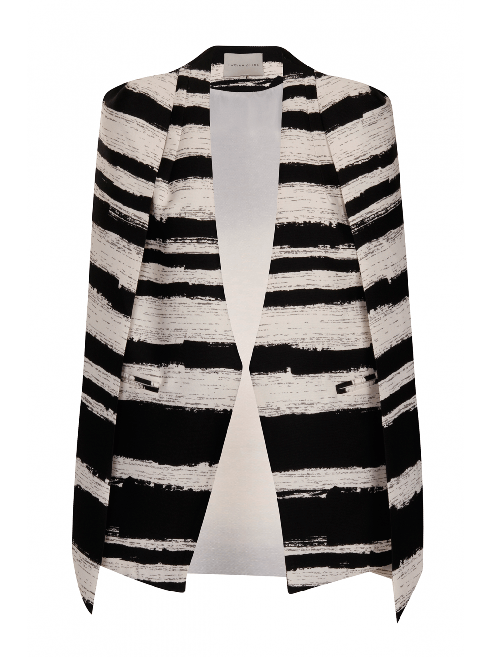 Black & White Distorted Stripe Collarless Cape Blazer