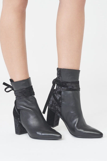 Leather and Velvet Pointed Boots