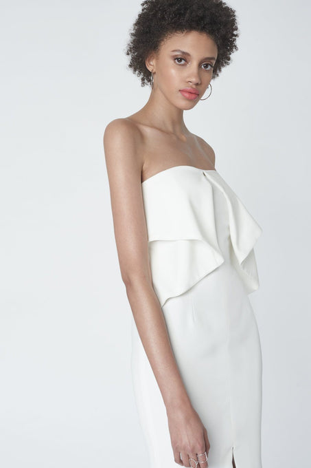 Strapless Origami Dress in Soft White