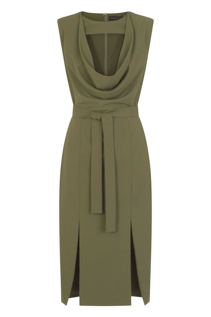 Double Split Cowlneck Dress in Khaki