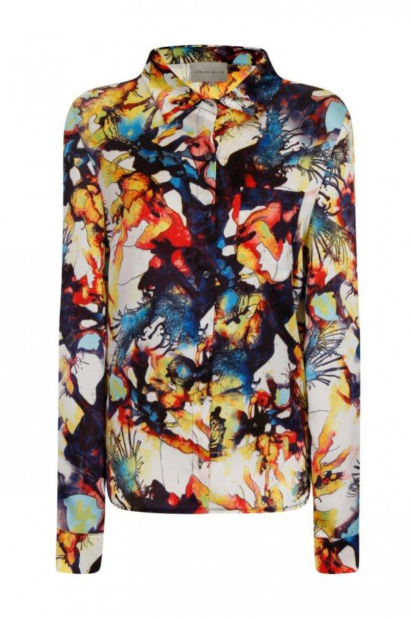 Multi Abstract Print Dipped Hem Shirt