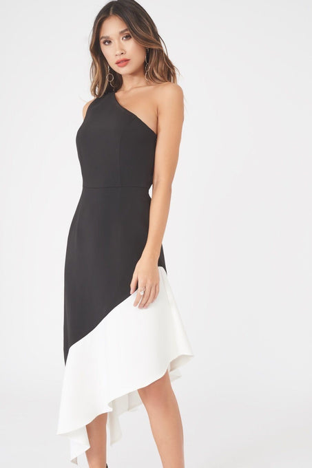 One Shoulder Monochrome Dress