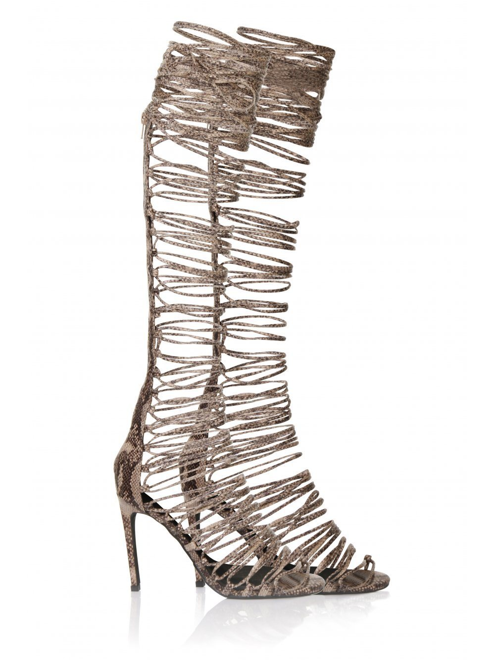 ADVENT Snakeskin Leather Lace Up Sandals