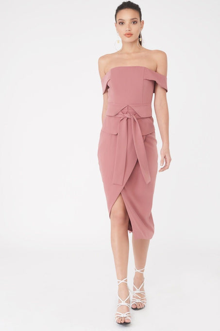 Bardot Corset Belt Midi Dress