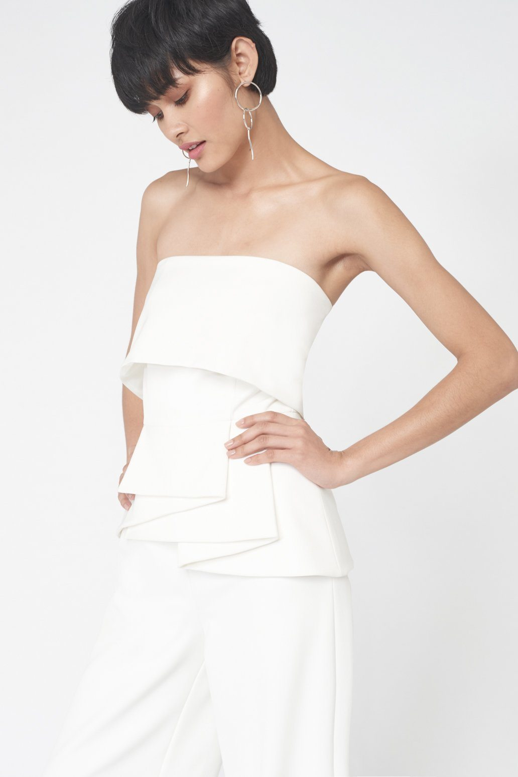 Strapless Frill Jumpsuit in Off White