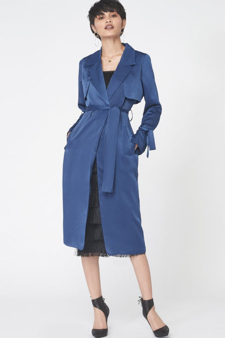 Trench Coat in Navy Satin