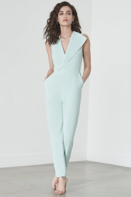 Sleeveless Tailored Jumpsuit in Mint