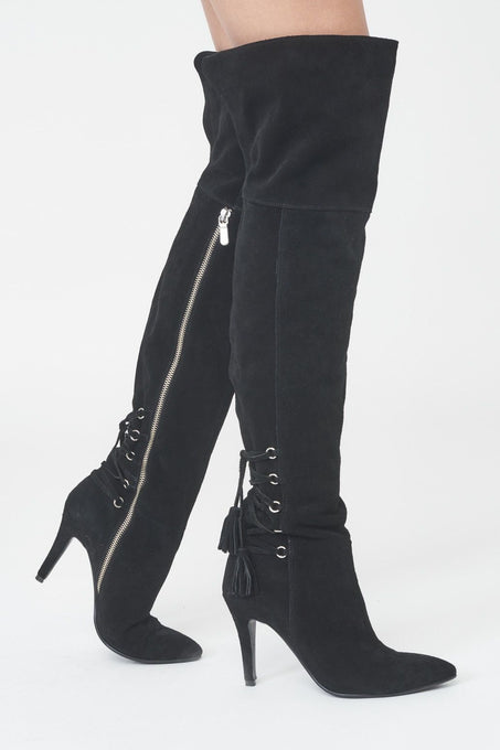 Suede Over-the-Knee Boots with Lace-Up Detail