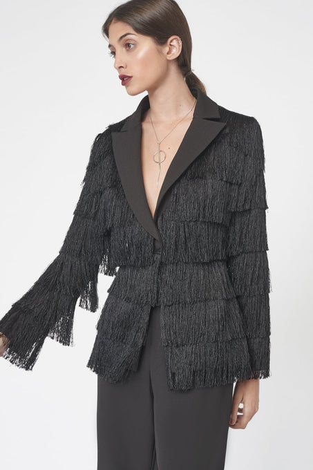 Tailored Fringed Blazer in Black