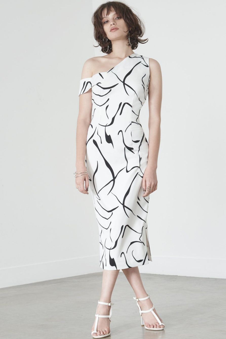 Asymmetric Shoulder Dress in Mono Print