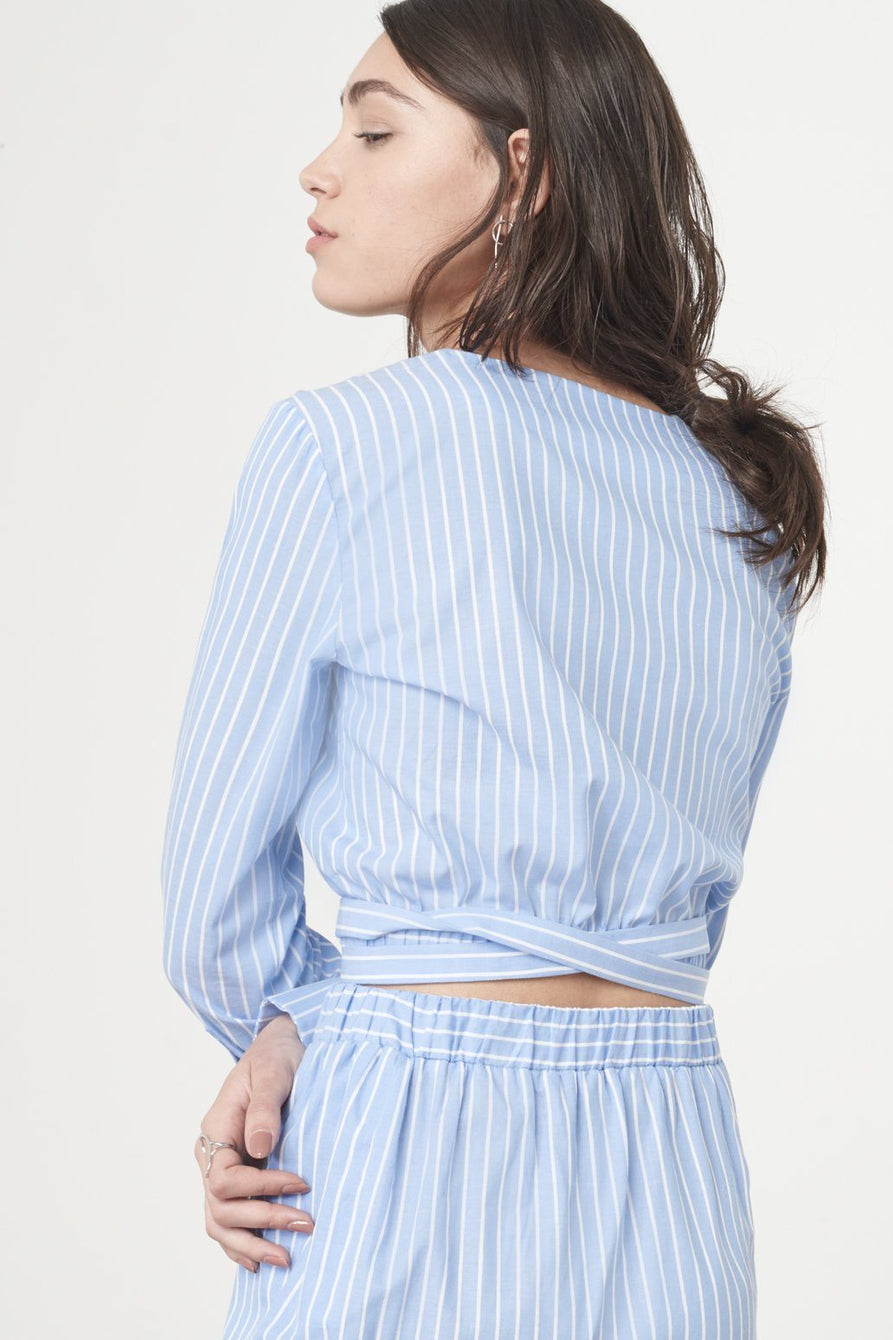 Wrap-over Artist Shirt in Blue & White Pinstripe Cotton